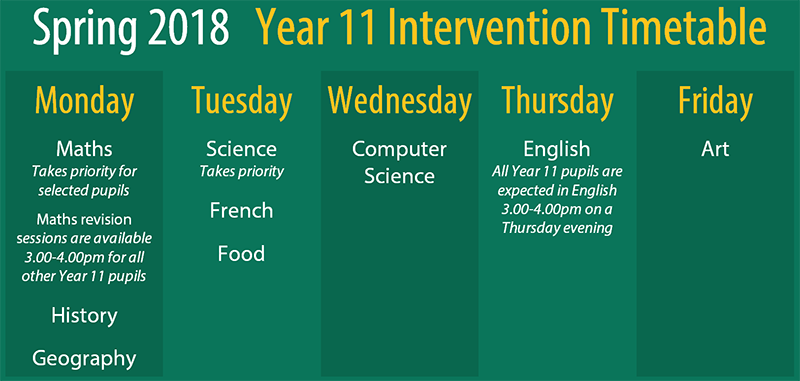 Year 11 Intervention Timetable Spring 2018 web